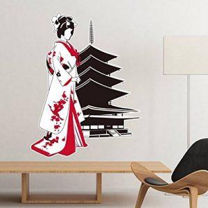 Japon Culture Style japonais Rouge Noir Kimono Girl Temple Silhouette Art Illustration Motif mural amovible Autocollant Stickers Art mural DIY papier peint pour chambre Autocollant 15cm noir de la marque DIYthinker image 0 produit