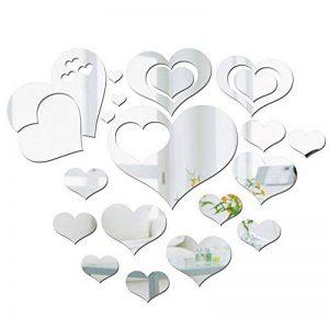 JNCH 21pcs Stickers Miroirs Autocollants Forme Cœur Miroir Mural 3D 2 Styles Décoratif Acrylique Amovible pour Salon Chambre Maison Décoration Intérieur de la marque JNCH image 0 produit
