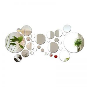 JNCH 28pcs Stickers Muraux Miroirs Rond Décoratifs Cercle Miroir Autocollant 3D Acrylique Deco Mural Amovible pour Salon Chambre Maison Décoration Intérieur (Dia:2-13.5cm) de la marque JNCH image 0 produit