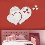 JUMINE Miroir Stickers Muraux, Cristal 3D Double Amour Coeur Acrylique DIY Art Stickers Muraux Maison Salon Salle De Bain TV Fond Décor, 10 Pcs / 2 Ensemble (Argent) de la marque JUMINE image 1 produit