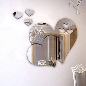 JUMINE Miroir Stickers Muraux, Cristal 3D Double Amour Coeur Acrylique DIY Art Stickers Muraux Maison Salon Salle De Bain TV Fond Décor, 10 Pcs / 2 Ensemble (Argent) de la marque JUMINE image 0 produit