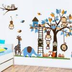 Jungle Zoo Réunion sur un arbre Chouette, singe Sticker mural pour enfants, salle de chambre d'enfant de la marque Rainbow-Fox image 1 produit