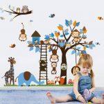 Jungle Zoo Réunion sur un arbre Chouette, singe Sticker mural pour enfants, salle de chambre d'enfant de la marque Rainbow-Fox image 2 produit