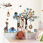 Jungle Zoo Réunion sur un arbre Chouette, singe Sticker mural pour enfants, salle de chambre d'enfant de la marque Rainbow-Fox image 3 produit