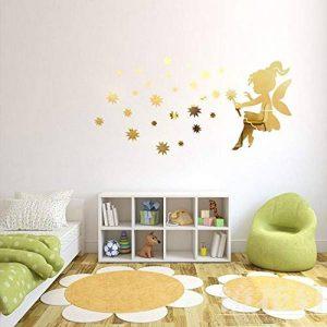 JWQT Chambre d'enfant, fille d'ange, étoile en cristal, miroir 3D stéréo, sticker mural acrylique, jardin d'enfants, Miroir doré, petit de la marque JWQT image 0 produit