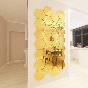 JWQT Décoration, originalité, imperméable à l'eau, filet, décoration rouge, mur de fond, application en trois dimensions, réfrigérateur, salon, miroir, stickers muraux en acrylique, miroir doré, grand de la marque JWQT image 0 produit