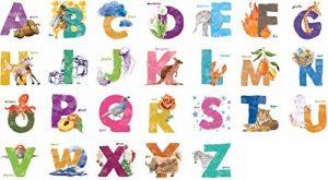 Kath (Homonymie) et Cath ABC Lettres de l'alphabet Animaux Nature Aquarelle Salle de Chambre d'enfant Vinyle Amovible Autocollant Multicolore Toile Murale Art Décoration de la Maison de la marque Kath-Cath image 0 produit