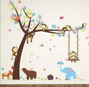 Kesote Cartoon Singe Arbre Jungle Animaux Thème Wall Art Sticker Autocollant Mural Décoration pour Salon Nursery Bébé Fille Garçon Enfant Chambre Chambre Décoration de la marque Kesote image 0 produit