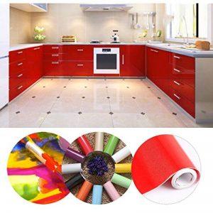 KINLO 5 * 0.61M Papier Peint Auto-Adhésif Rouge Armoire de Cuisine en PVC Imperméable Style Moderne Stickers Autocollant Muraux Étanche Décoration Chambre Salon Meuble de la marque KINLO image 0 produit