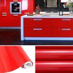 KINLO 5 * 0.61M Papier Peint Auto-Adhésif Rouge Armoire de Cuisine en PVC Imperméable Style Moderne Stickers Autocollant Muraux Étanche Décoration Chambre Salon Meuble de la marque KINLO image 1 produit