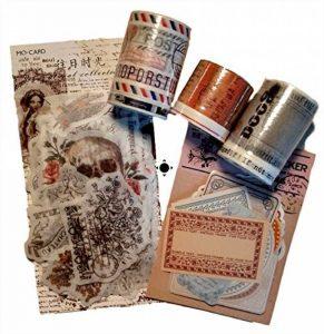 Kit n°2 Style Ancien- Top qualité - Washi Tape - 18m total de rubans adhésifs et 84 stickers - Idéal Scrap booking de la marque Générique image 0 produit