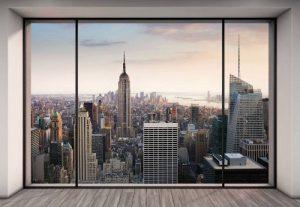 """Komar 8–916Lot de 8 panneaux muraux Motif Paysage urbain 368x254cm""""Penthouse trompe l'oeil Gratte-ciels de New York City"""" –Pastel de la marque Komar image 0 produit"""
