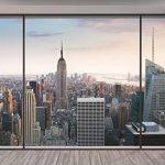 """Komar 8–916Lot de 8 panneaux muraux Motif Paysage urbain 368x254cm""""Penthouse trompe l'oeil Gratte-ciels de New York City"""" –Pastel de la marque Komar image 1 produit"""
