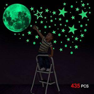 Konsait 435 Points Lune et Etoiles phosphorescentes Stickers Muraux fluorescents Lumineux Autocollant Plafond pour Décoration de Chambre d'enfant bébé de la marque Konsait image 0 produit