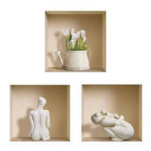 L'Nisha Art Magic Vinyle 3D Autocollants Mural Amovible Bricolage, Ensemble de 3, Statues Blanches et Pot de Fleur de la marque The Nisha image 0 produit