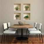 L'Nisha Art Magic vinyle 3D Autocollants mural amovible bricolage, Ensemble de 4, Plantes vertes et brunes de la marque The Nisha image 1 produit