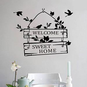 """L-Peach Stickers Muraux Élégant Proverbes Anglais """"Welcome Sweet Home"""" Vinyle Adhésifs Autocollant Amovible DIY Porte d'entrée Décoration Home Decor de la marque L-Peach image 0 produit"""