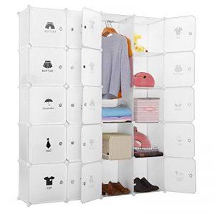 LANGRIA Armoire avec Penderie Modulable 20 Cubes avec Tige a Vêtements, Autocollants Divers pour Décor, Meuble Rangement (Blanc) de la marque LANGRIA image 0 produit