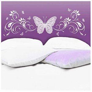 Les Trésors De Lily [N6538 - Sticker Tête de lit 'Papillon Romantique' Blanc - 155x68 cm de la marque Les-Trésors-De-Lily image 0 produit