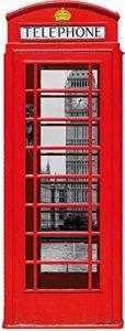Londres Sticker Adhésif Mural Autocollant - Cabine Téléphonique Rouge avec Big Ben Et Tamise, Collage (120 x 40 cm) de la marque 1art1® image 0 produit