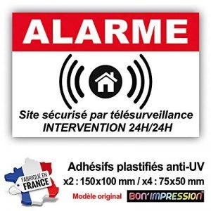 Lot 6 Autocollants pour Système d'Alarme (150 x 100 mm = 2 + 75 x 50 mm = 4) avec Texte : Site sécurisé par télésurveillance - Intervention 24H/24H de la marque Bon'impression image 0 produit