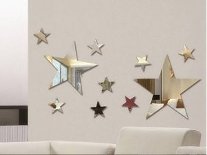 Lot de 10pcs Creative cinq étoiles Miroir mural autocollant pour enfants 's Chambre à coucher Home Deco, 3d DIY Cristal Autocollant mural peintures murales de la marque MEYA image 0 produit