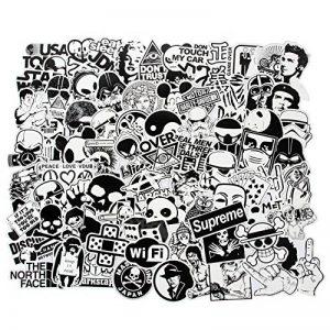 Lot de 100 Autocollants en Vinyle Style Vintage, Art Pop Noir et Blanc pour Ordinateur Portable, MacBook Skateboard/Snowboard, Valise, iPhone, Voiture, Moto de la marque FNGEEN image 0 produit