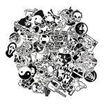 Lot de 100 Autocollants en Vinyle Style Vintage, Art Pop Noir et Blanc pour Ordinateur Portable, MacBook Skateboard/Snowboard, Valise, iPhone, Voiture, Moto de la marque FNGEEN image 4 produit