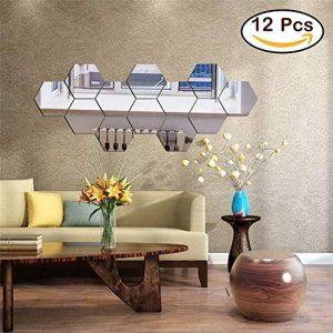 Lot de 12 autocollants muraux en acrylique hexagonaux pour décoration de maison, salon, chambre à coucher, canapé, TV Argenté de la marque Manco Luella image 0 produit