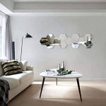 Lot de 12 autocollants muraux en acrylique hexagonaux pour décoration de maison, salon, chambre à coucher, canapé, TV Argenté de la marque Manco Luella image 3 produit