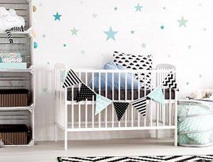 Lot deStickers muraux chambre d'enfant Motif étoiles Pastel Bleu et Vert de la marque I-love-Wandtattoo image 0 produit