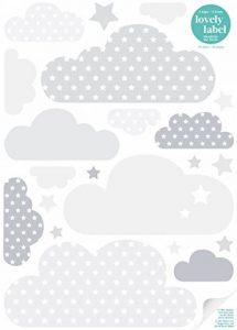 lovely label Stickers muraux chambres pour enfants lot de 40 - Autocollants pour chambre de bébé avec nuages et étoiles - Décoration murale gris & blanc de la marque lovely label image 0 produit