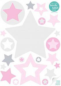 lovely label Stickers muraux chambres pour enfants lot de 40 - Autocollants pour chambre de bébé avec étoiles - Décoration murale pour garçon et fille rose & gris de la marque lovely label image 0 produit