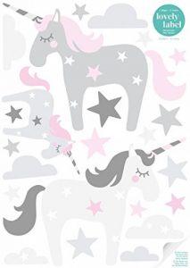lovely label Stickers muraux Chambres pour Filles Lot de 45 - Autocollants pour Chambre de bébé avec Licornes - Décoration Murale Rose et Gris de la marque lovely-label image 0 produit