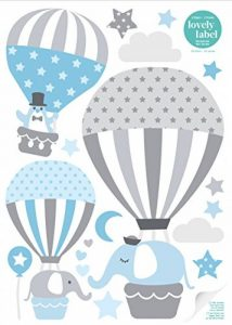 lovely label Stickers muraux pour Chambre Enfant Lot de 33, montgolfière & Animaux - Autocollants pour Chambre de bébé - Décoration Murale Gris & Bleu de la marque lovely-label image 0 produit