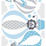 lovely label Stickers muraux pour Chambre Enfant Lot de 33, montgolfière & Animaux - Autocollants pour Chambre de bébé - Décoration Murale Gris & Bleu de la marque lovely-label image 1 produit
