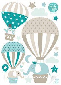 lovely label Stickers muraux pour Chambre Enfant Lot de 33, montgolfière & Animaux - Autocollants pour Chambre de bébé - Décoration Murale Taupe & Vert de la marque lovely-label image 0 produit