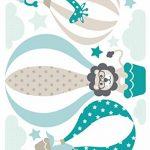 lovely label Stickers muraux pour Chambre Enfant Lot de 33, montgolfière & Animaux - Autocollants pour Chambre de bébé - Décoration Murale Taupe & Vert de la marque lovely-label image 1 produit