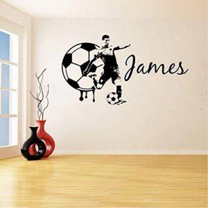 lsweia Football Star Personnalisé NomAmovible Stickers Muraux pour Ados Garçons Enfants Chambre Décor en Vinyle Stickers Salle d'exercice56 * 102 Cm de la marque lsweia image 0 produit