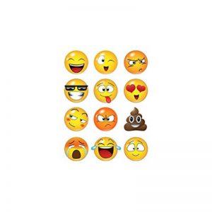 LUCHA Autocollant Mural Sticker Graphique 12 Grands Visages Emoji, Autocollants muraux Smiley Emojis (6 Pouces) de la marque LUCHA image 0 produit