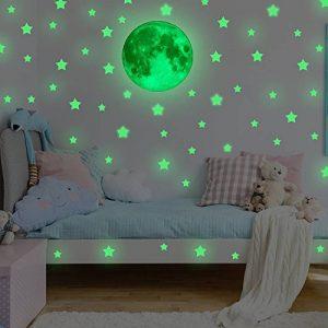 Lune et Étoile Autocollants lumineux, FESKIN Etoiles Fluorescents et phosphorescents dans l'obscurité Wall Sticker Décoration murale Chambre de bébé enfant de la marque Feskin image 0 produit