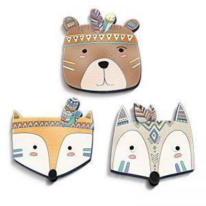 luvel® (M1) - Lot de 3 têtes d'animaux indiennes douces et colorées en 3D-EFFECT 18,5 x 18,5 cm comme tatouage mural Chambre d'enfant et décoration de chambre d'enfant - plastique 10 mm de la marque luvel - YOUNG FASHION image 0 produit