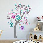 madras24 Sticker Mural pour Enfants Mur pour Un Enfant Jardin d'enfants des La Chambre des Enfants Salon Chambre à Coucher école Décoration Jungle forêt Animaux Arbre hiboux Hibou de la marque madras24 image 2 produit
