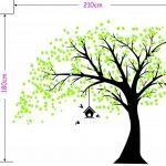 MAFENT Sticker Mural géant Arbre Noir avec Feuilles Vert Oiseaux et Birdcage DIY Sticker Mural en Vinyle pour bébés Enfants Enfants Chambre décoration (Black,Green) de la marque MAFENT image 2 produit