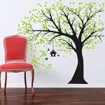 MAFENT Sticker Mural géant Arbre Noir avec Feuilles Vert Oiseaux et Birdcage DIY Sticker Mural en Vinyle pour bébés Enfants Enfants Chambre décoration (Black,Green) de la marque MAFENT image 1 produit