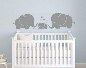 Mafent Sticker mural pour chambre d'enfant Trois éléphants et cœurs Gris, gris, Small de la marque MAFENT image 0 produit