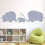 Mafent Sticker mural pour chambre d'enfant Trois éléphants et cœurs Gris, gris, Small de la marque MAFENT image 1 produit