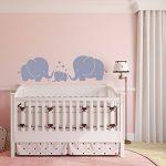Mafent Sticker mural pour chambre d'enfant Trois éléphants et cœurs Gris, gris, Small de la marque MAFENT image 4 produit