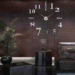 MFEIR® amovible Horloge murale Pendules murales moderne mur Loisirs grosse montre Décoration Stickers Effet Miroir Verre acrylique Décoration,noir de la marque MFEIR image 4 produit