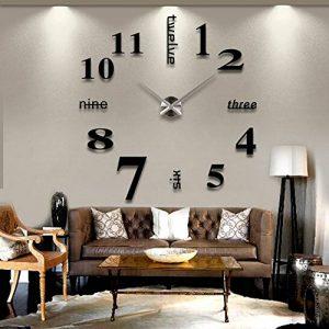 MFEIR® amovible Horloge murale Pendules murales moderne mur Loisirs grosse montre Décoration Stickers Effet Miroir Verre acrylique Décoration,noir de la marque MFEIR image 0 produit